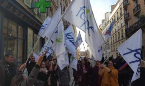 Photo de la manifestation au ministère