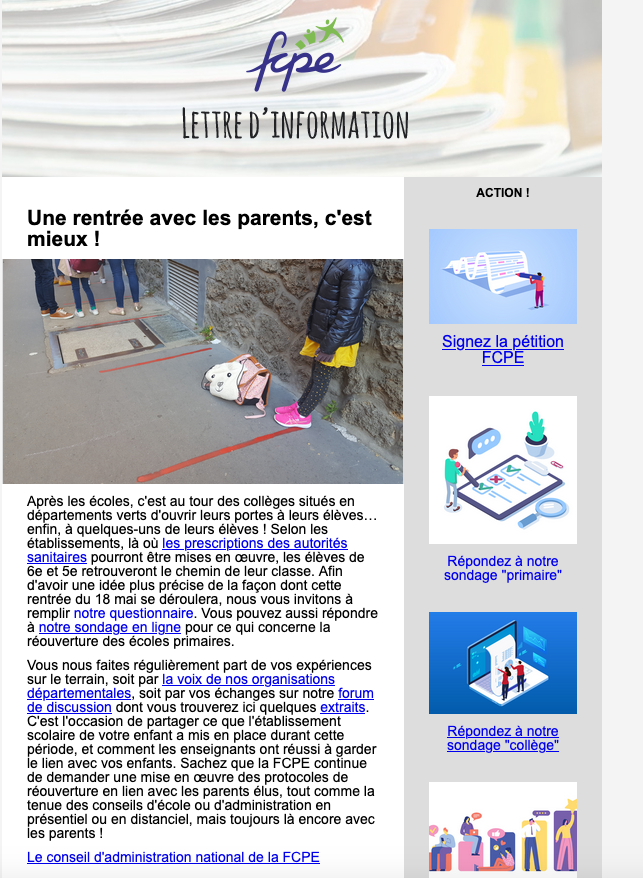 newsletter post confinement semaine 10