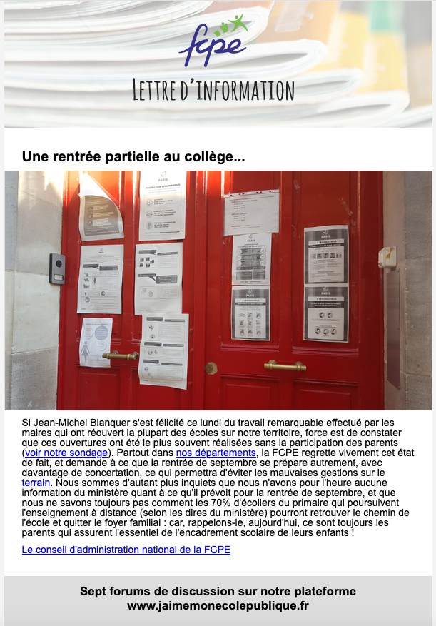newsletter post confinement semaine 11