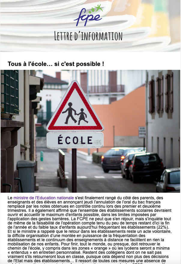 newsletter post confinement semaine 12